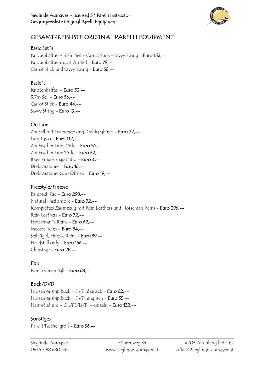 Gesamtpreisliste Original Parelli Equipment Sieglinde Aumayer