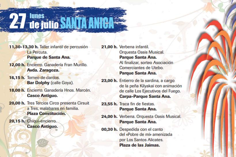Programa de las Fiestas de Santa Ana en Utebo 2015