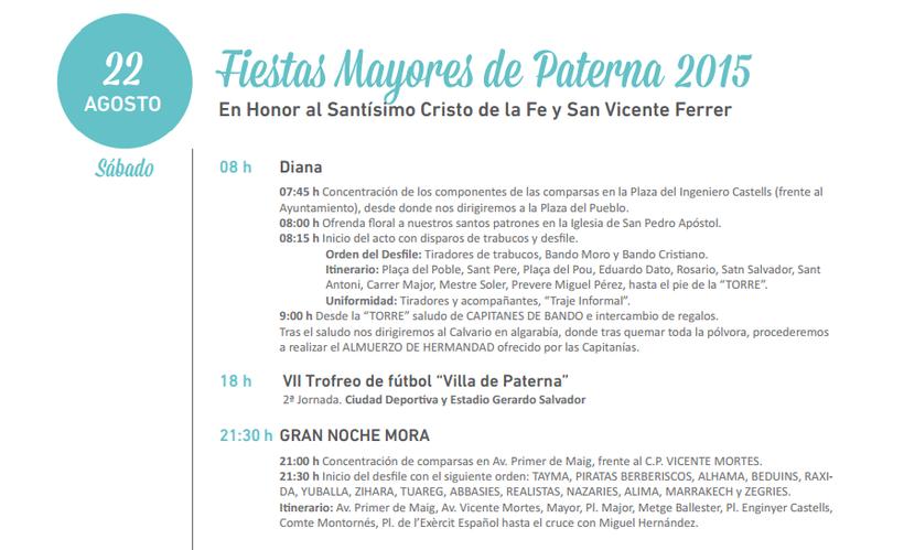Programa de las Fiestas Mayores de Paterna 2015