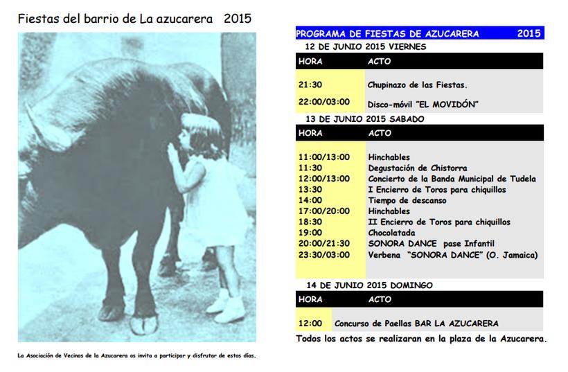 Programa de las Fiestas de la Azucarera 2015 en Tudela