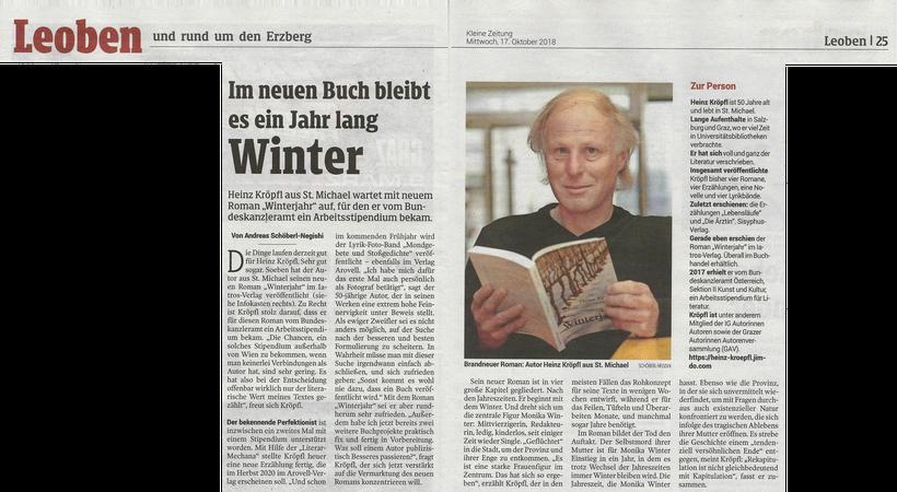 Buchvorstellung Rezension Heinz Kröpfl Roman Winterjahr Andreas Schöberl-Negishi