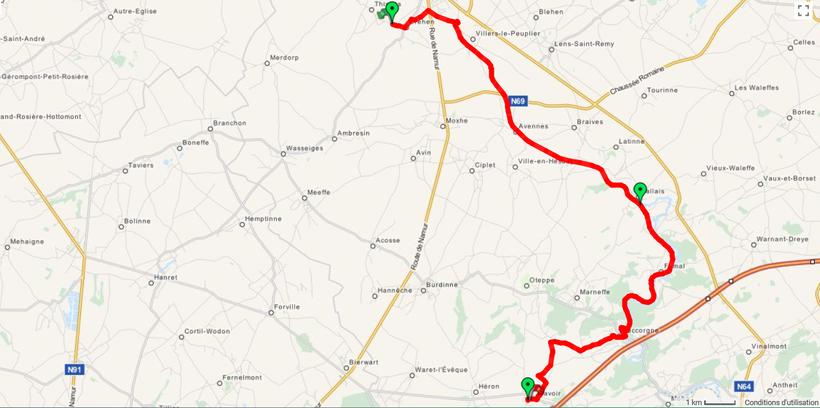 Aperçu itinéraire AWTE de CREHEN à LAVOIR ( cartes IGN utilisées : 41/1-2 --- 41/5-6 --- 48/1-2 )