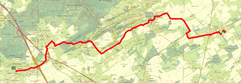 Aperçu itineraire de Courrière (48/5) à Sorée (46/5-6)