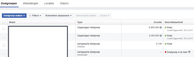Facebook advertising doelgroep maken