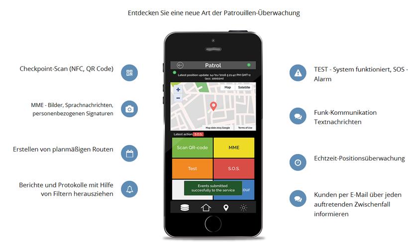 Übersicht Funktionen Wächterkontrollsystem auf iPhone - SISU GuardControl