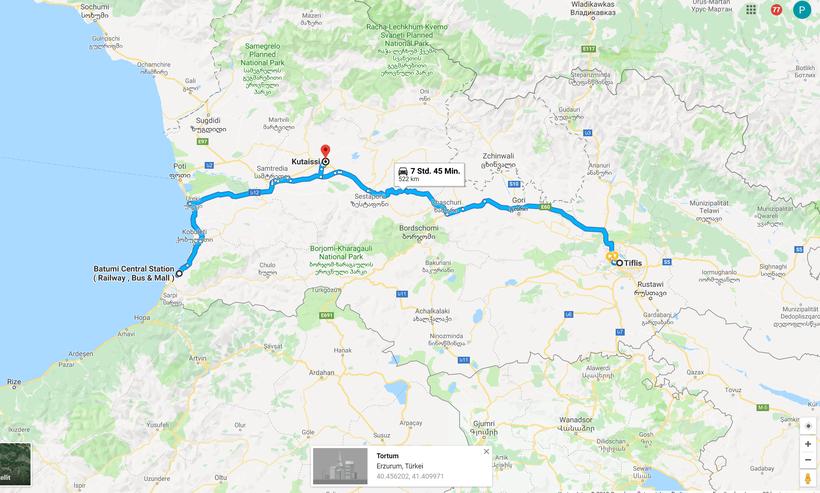 Georgien karte route
