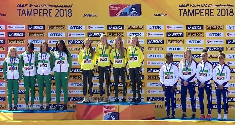 Leichtathletik Weltmeisterschaften U20 in Tampere /Finnland  4 x 100 Meter - Staffel