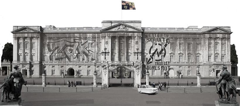 Buckingham Palace with graffiti and tourists and ZakWashington outside