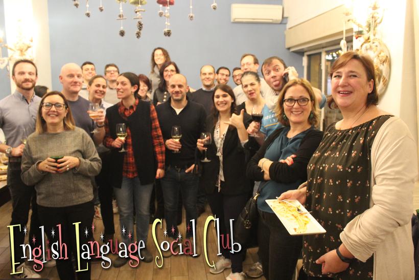 Photo of Libertarian Linguistics' English Language Social Club meeting in Piedigrotta restaurant Varese 2020