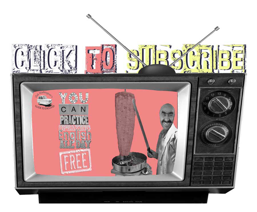 Graphic of vintage TV with link to English language video tutorial channel with words 'Click to Subscribe'