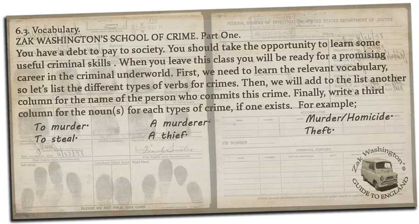 English language grammar and vocabulary exercise for TEFL TESOL EFL ELT students: Crime and punishment vocabulary