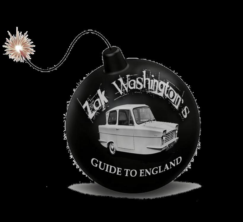Cartoon bomb with lighted fuse and ZakWashington logo