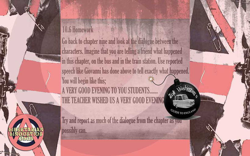 Graphic for ZakWashington EFL TEFL exercise for students of English to learn 'reported speech'
