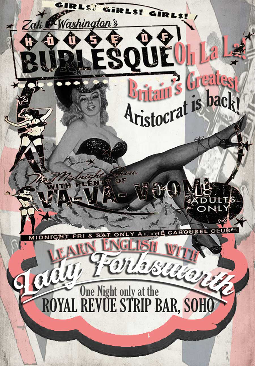 ZakWashington vintage Soho nightclub poster advertising a West End show