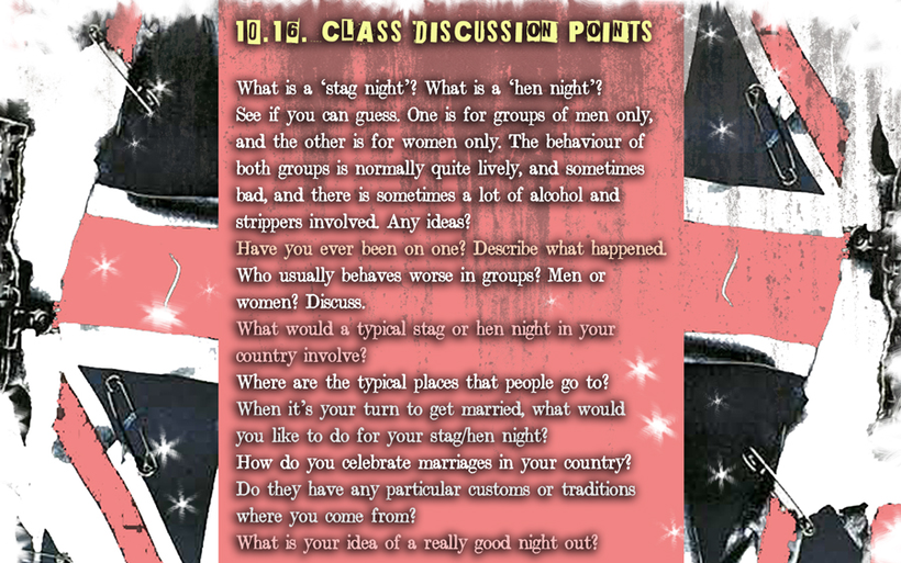 ENGLISH LANGUAGE STUDENT SPEAKING PRACTICE ACTIVITY: Discussion about Stag Nights, Hen Nights and marriage celebrations