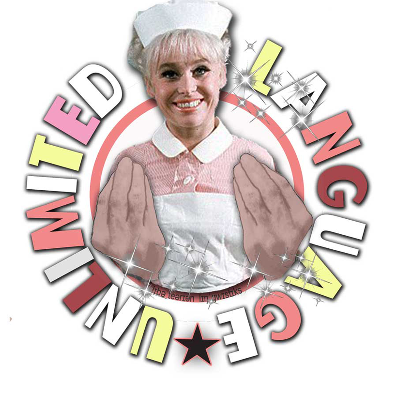 Language Unlimited graphic with Barbara Windsor
