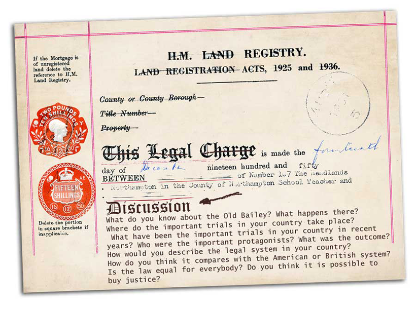 graphic of a vintage H.M. Land Registry document with an English language EFL discussion printed on it