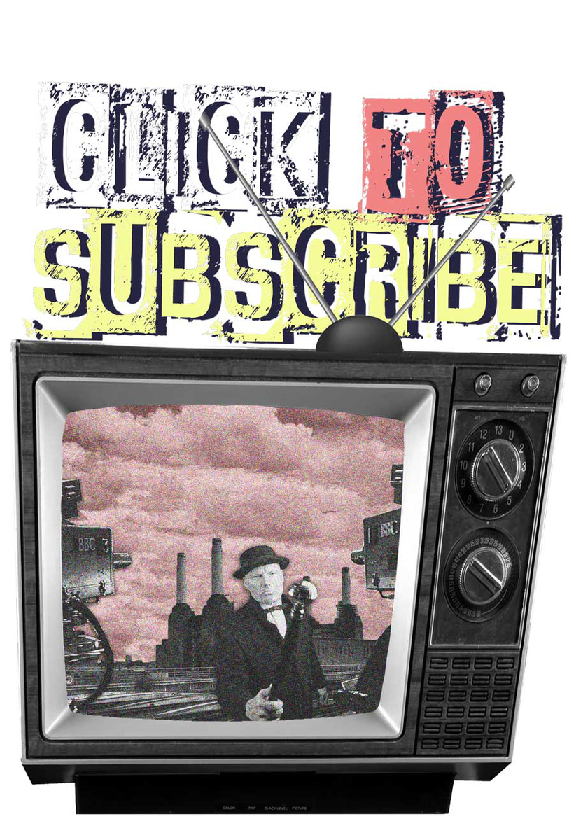 Graphic of old TV linking to student's English language video tutorials channel with words 'Click to Subscribe'