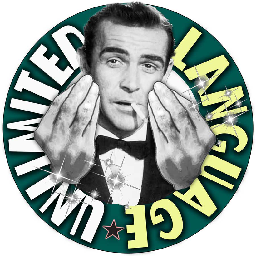 Language Unlimited logo with Sean Connery graphic