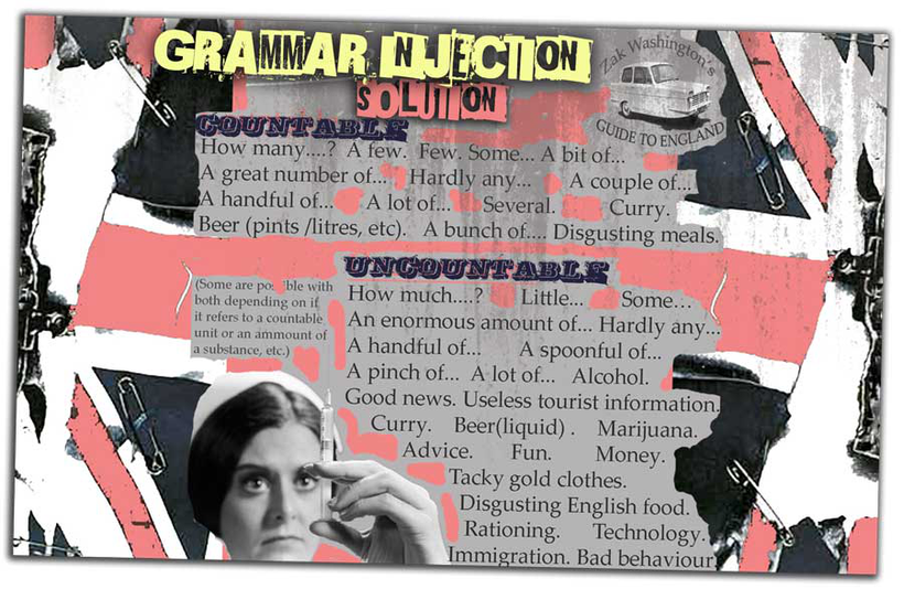 Graphic with solutions to EFL TEFL TESOL ELT English grammar exercise for countable and uncountable nouns