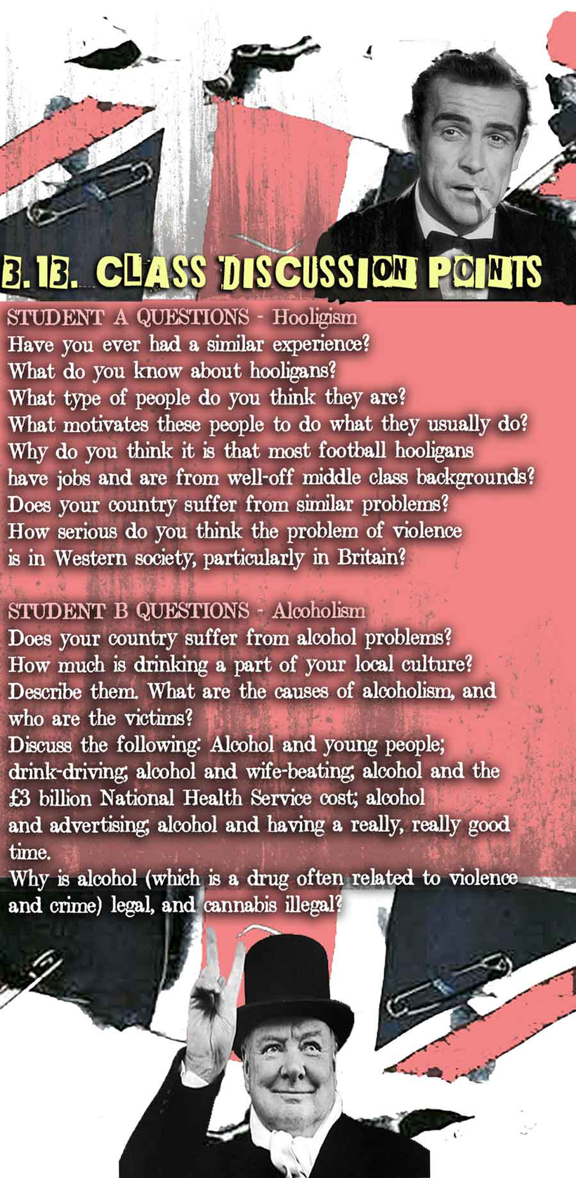 British language and culture infographic. Student discussions on hooliganism and alcoholism