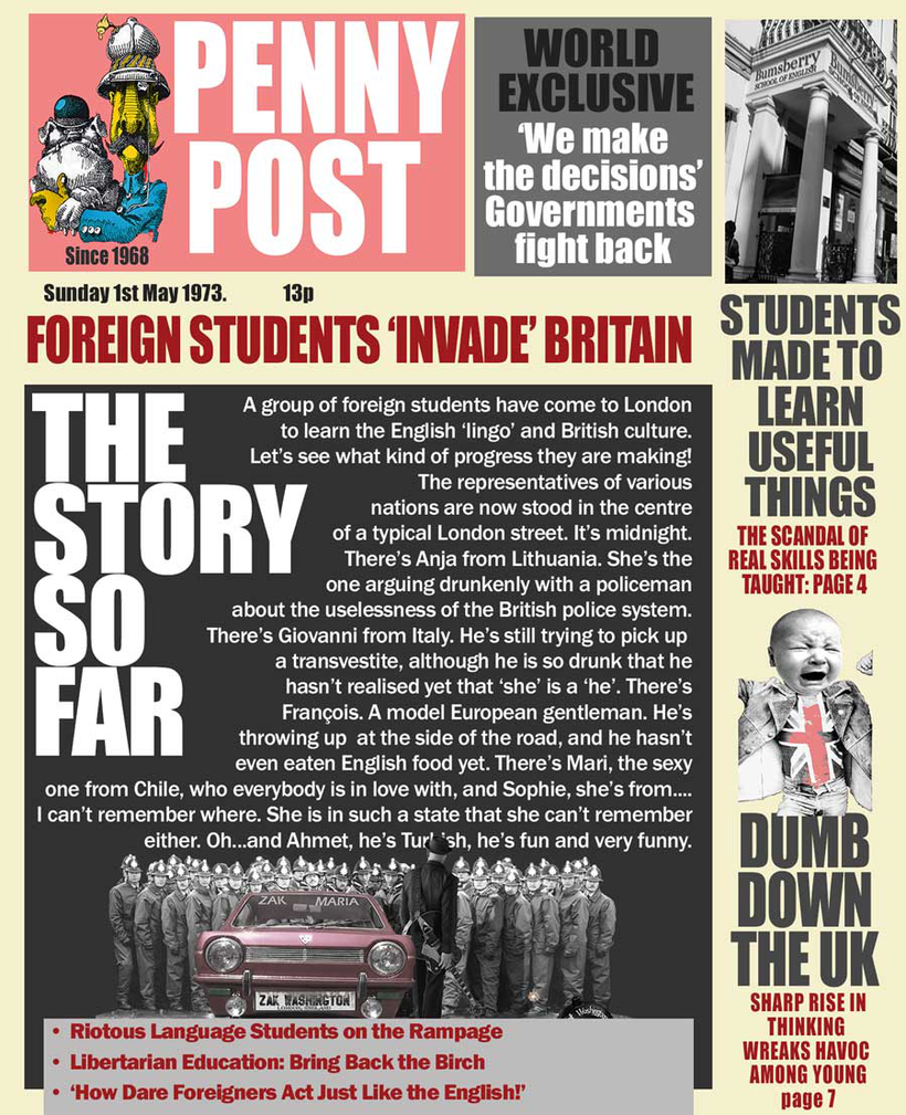Tabloid newspaper cover with picture of riot police and title 'Foreigners Invade Britain'