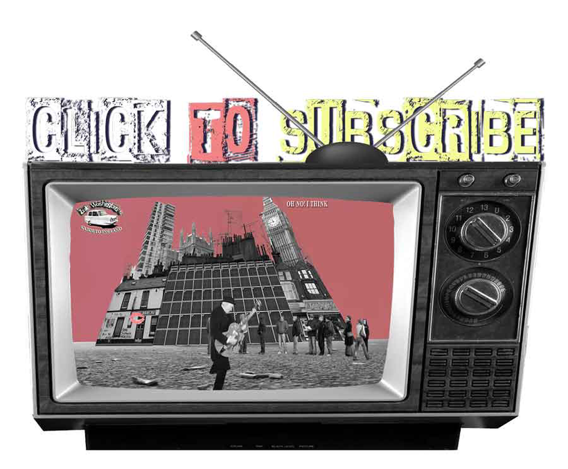 vintage tv graphic for learning English language linked to video tutorial channel subscription