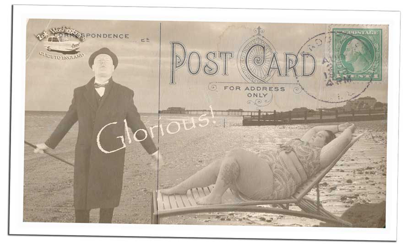 Photos of British culture: typical English vintage, old postcard from the beach.