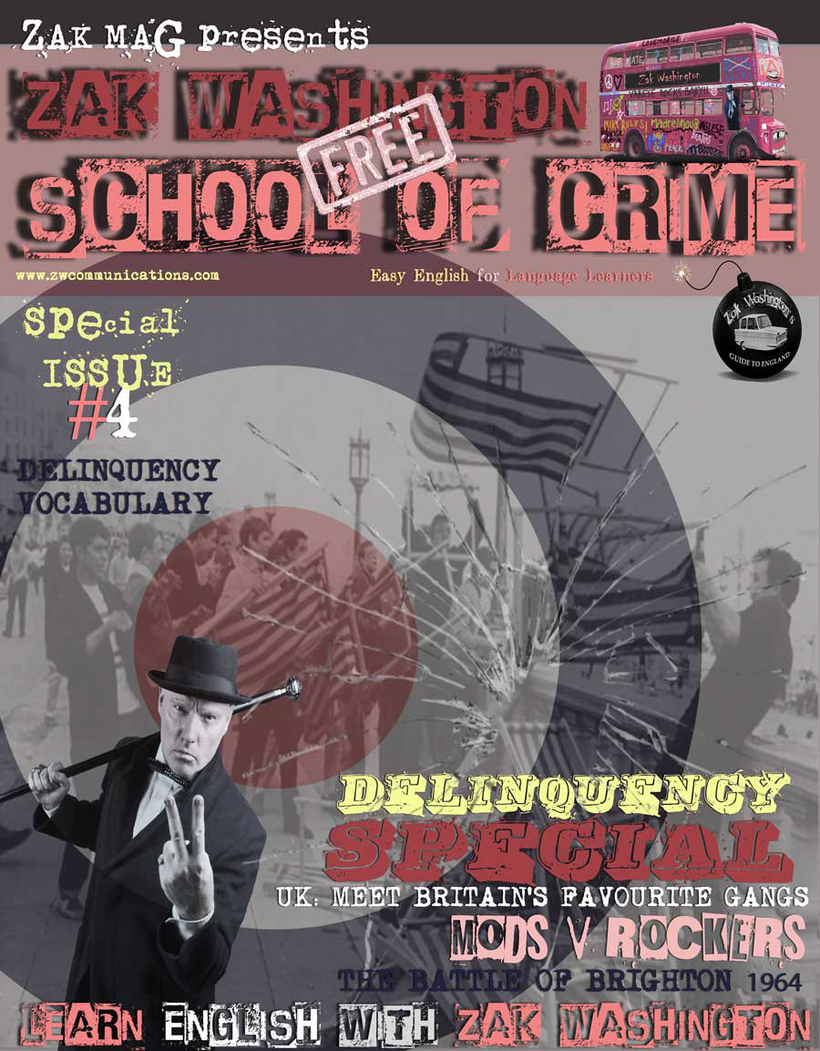 Graphic with link to English learning magazine: Zak Washington School of Crime