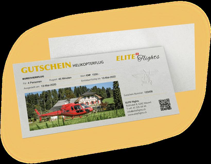 Elite Flights, Gutschein Burezvieriflug, Helikopterflug, Helikopterrundflug, Rundflug, Luzern-Beromünster