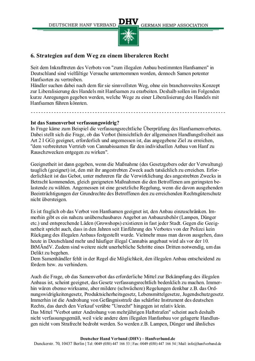 Rechtliche Situation von Hanfsamen und Hanfsamen Händlern Teil 11