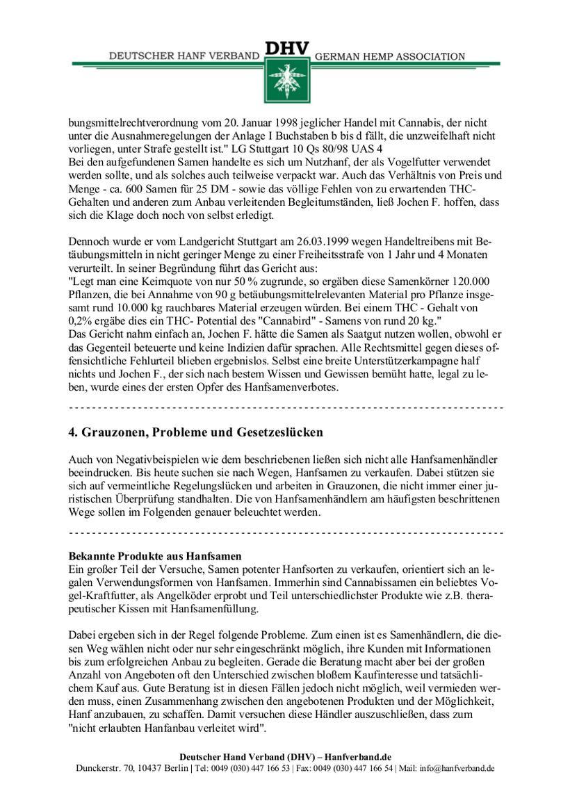 Rechtliche Situation von Hanfsamen und Hanfsamen Händlern Teil 5