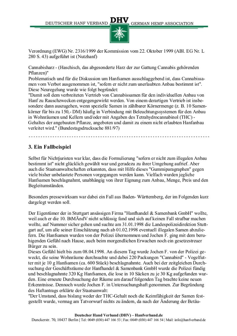 Rechtliche Situation von Hanfsamen und Hanfsamen Händlern Teil 4