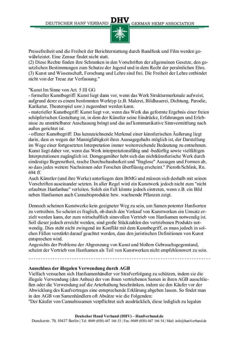 Rechtliche Situation von Hanfsamen und Hanfsamen Händlern Teil 7