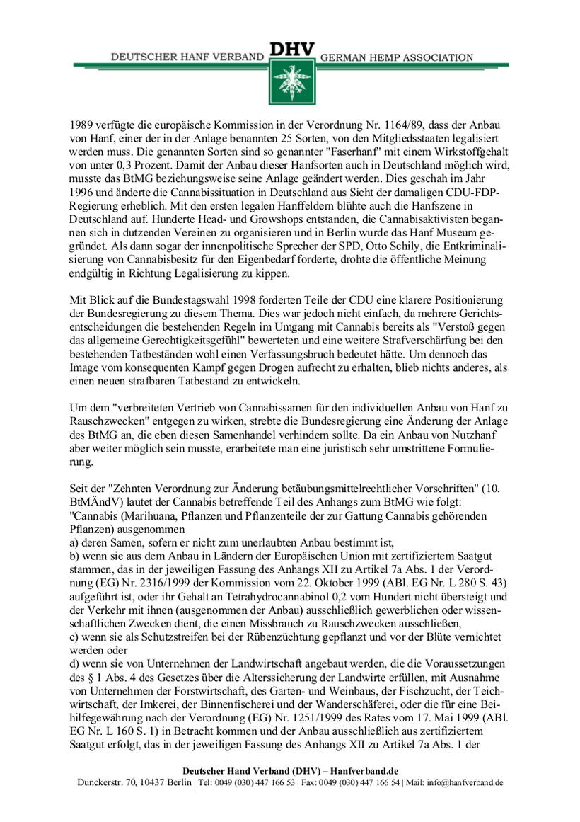 Rechtliche Situation von Hanfsamen und Hanfsamen Händlern Teil 3