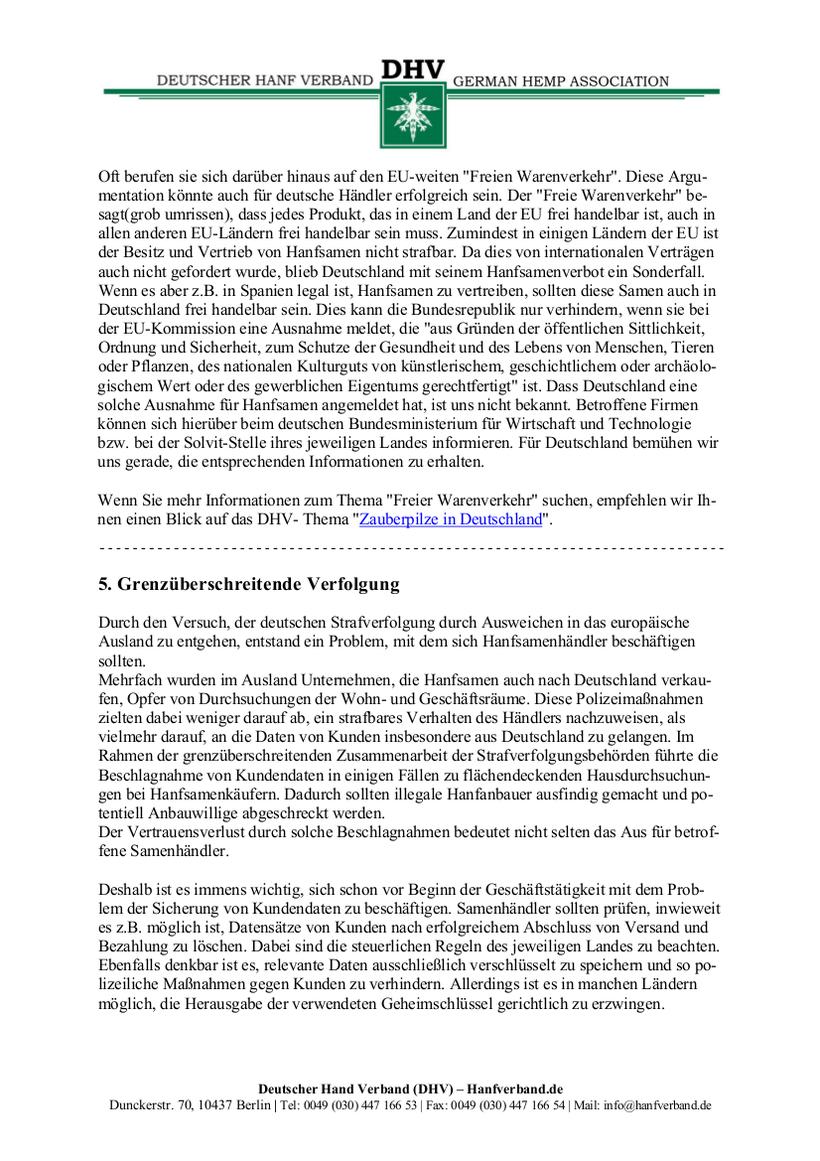 Rechtliche Situation von Hanfsamen und Hanfsamen Händlern Teil 10