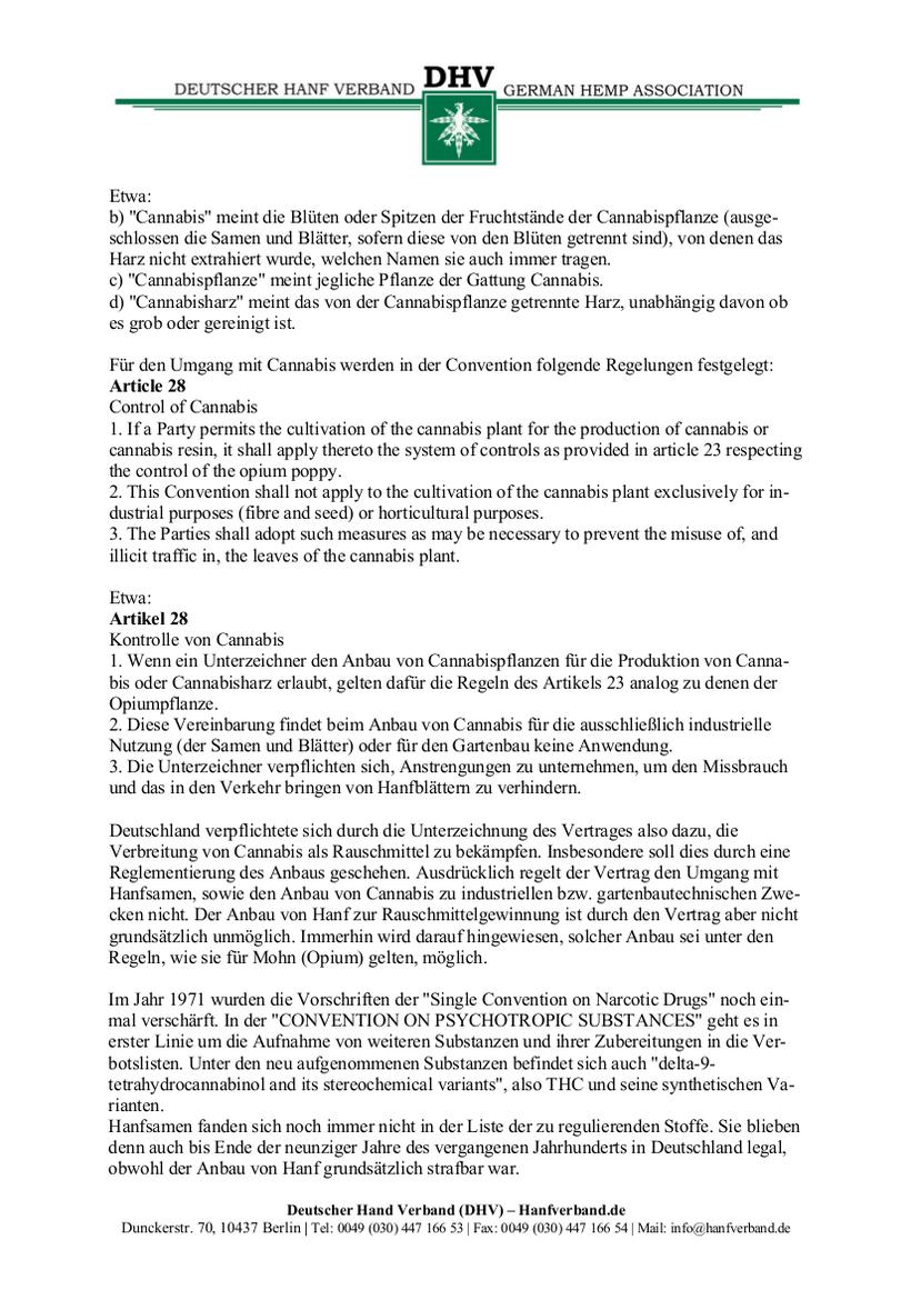 Rechtliche Situation von Hanfsamen und Hanfsamen Händlern Teil 2
