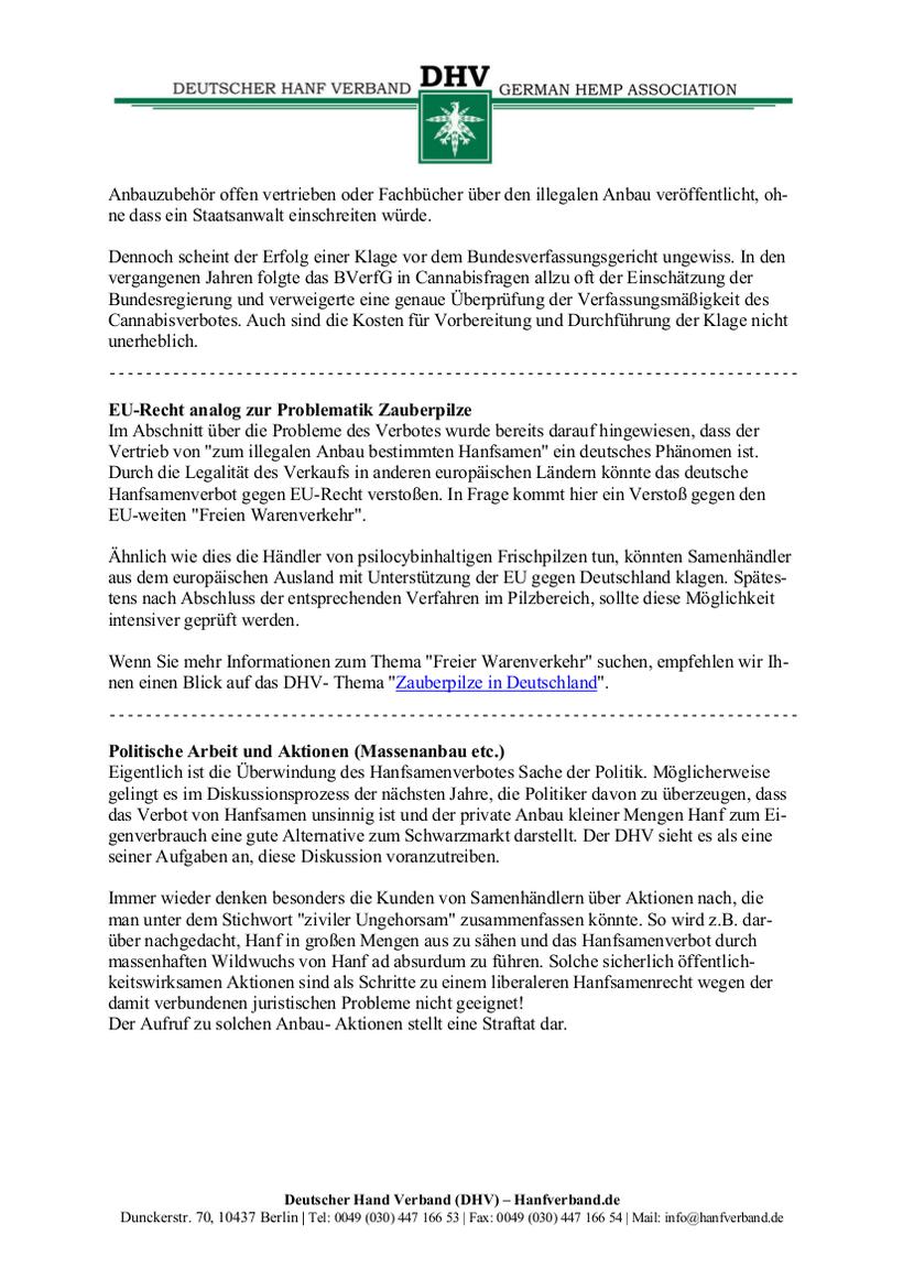 Rechtliche Situation von Hanfsamen und Hanfsamen Händlern Teil 12