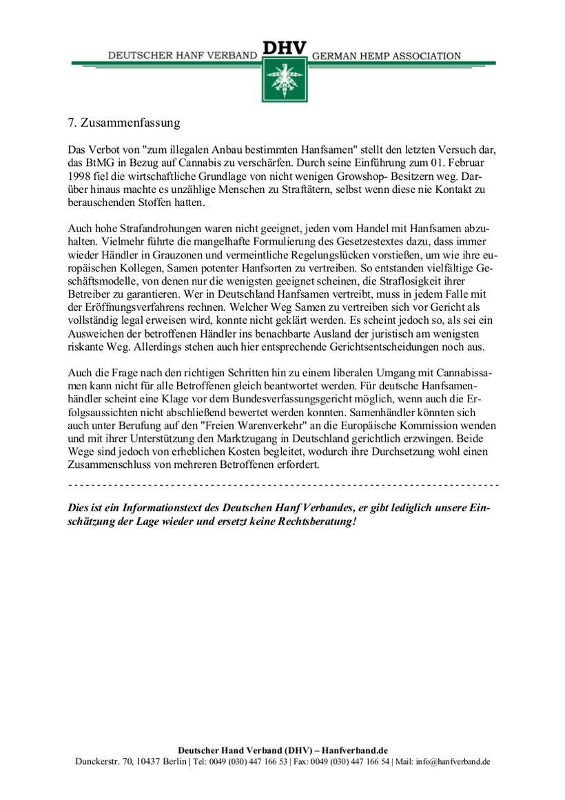 Rechtliche Situation von Hanfsamen und Hanfsamen Händlern Teil 13