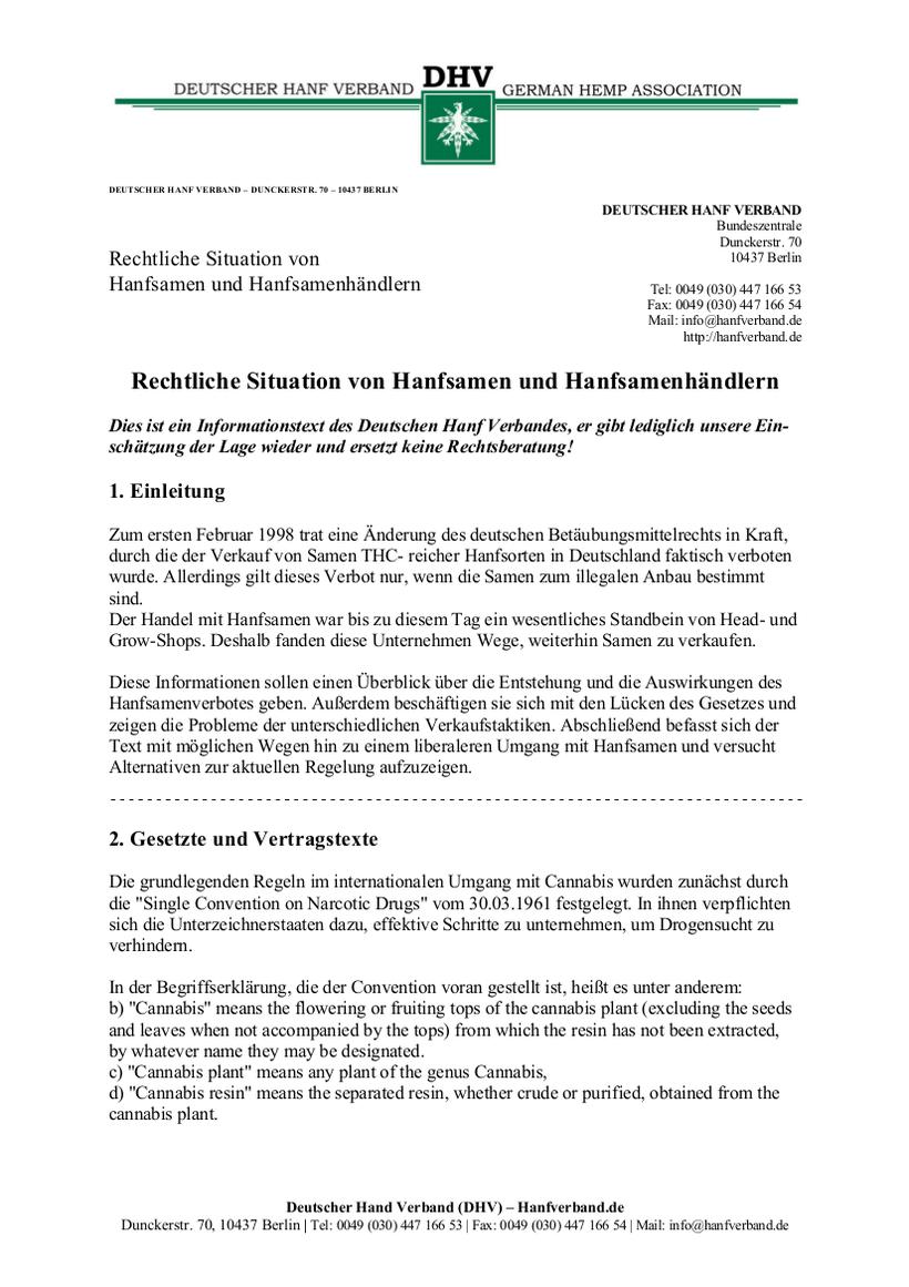 Rechtliche Situation von Hanfsamen und Hanfsamen Händlern Teil 1
