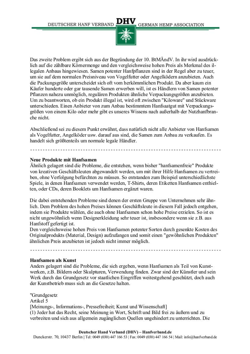Rechtliche Situation von Hanfsamen und Hanfsamen Händlern Teil 6