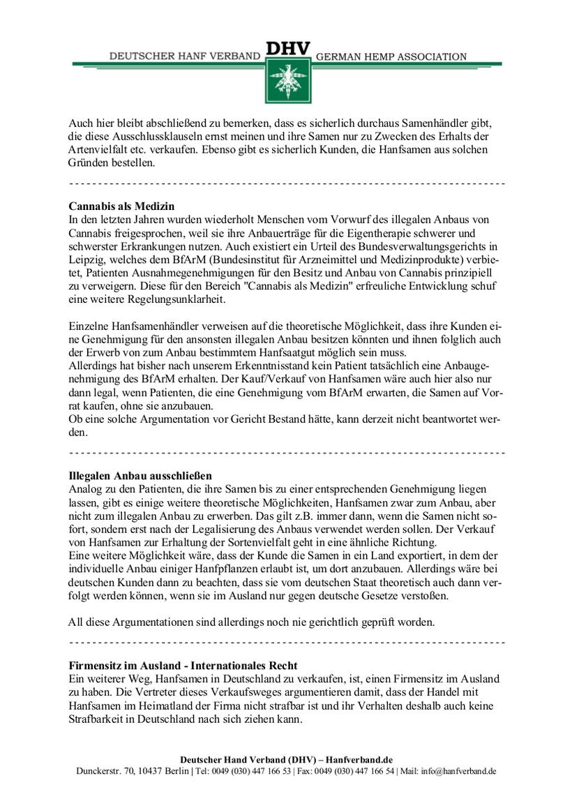 Rechtliche Situation von Hanfsamen und Hanfsamen Händlern Teil 9
