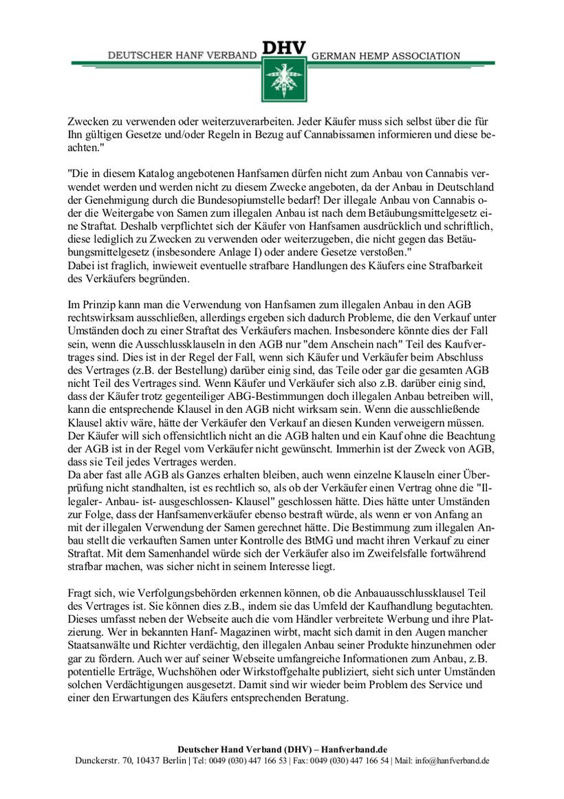 Rechtliche Situation von Hanfsamen und Hanfsamen Händlern Teil 8