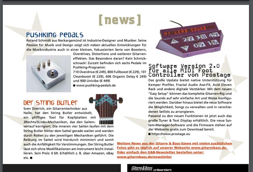 News Artikel im Magazin GITARRE & BASS - Ausgabe 11/2016