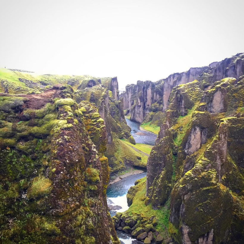 View from the ridges of Fjaðrárgljúfur Canyon in Iceland. Instagram photo credit: @marija_7890