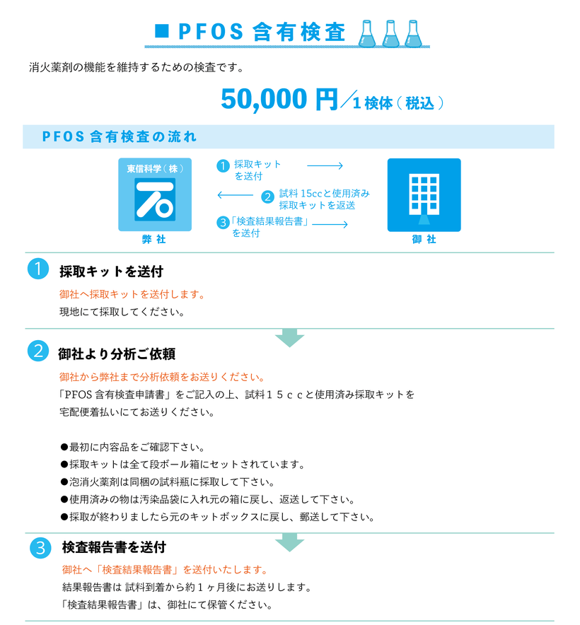 泡消火薬剤成分検査/PFOS含有検査