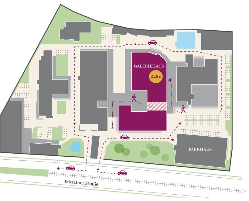 Lageplan der Schwanenhöfe in Düsseldorf Flingern