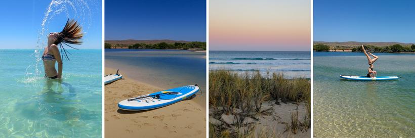 Bilder-Collage-Sandy-Bay-SUP-Tour-Yardie-Creek-Wobiri-Beach-Kopfstand-Yoga