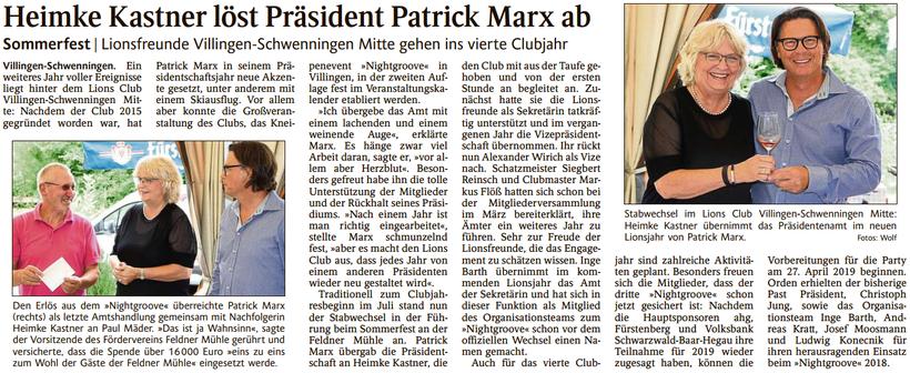 Präsidentenübergabe Lionsclub Villingen-Schwenningen Mitte