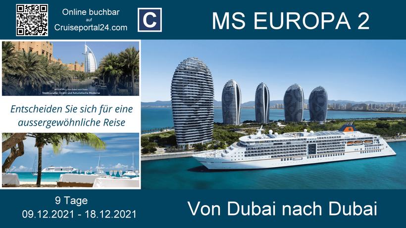 MS Europa 2 8 Tage vom 09.12.-18-12-2021 ab/an Dubai